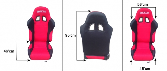SPARCO RACING SEAT BLACK & RED RECLINE (SINGLE)